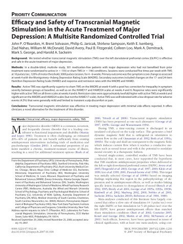 Efficacy and Safety of Transcranial Magnetic Stimulation in the Acute ...