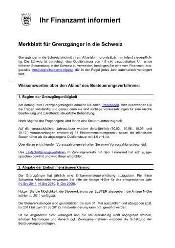 Merkblatt Finanzamt Waldshut Tiengen