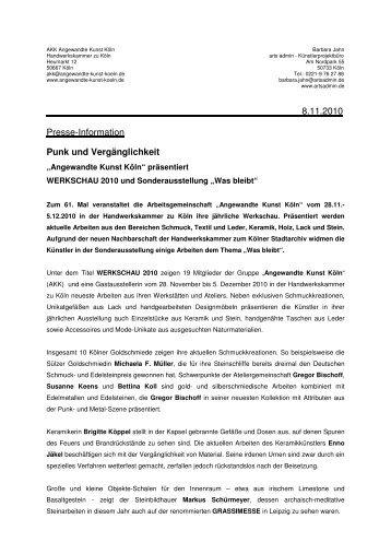 8.11.2010 Presse-Information Punk und Vergänglichkeit
