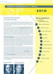 jahresbericht 2010 - FSP - Förderkreis Sozialpsychiatrie eV Münster