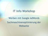 Teil 1: Werben mit Google Adwords! - IT-Info-Workshop