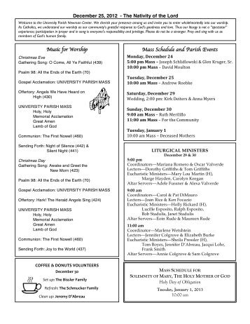 Bulletin - December 25, 2012 - University Parish Newman Center