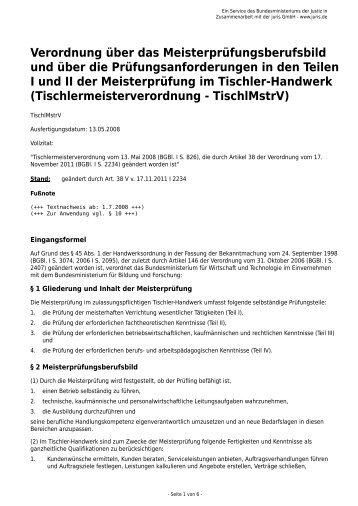 Verordnung über das Meisterprüfungsberufsbild - Gesetze im Internet