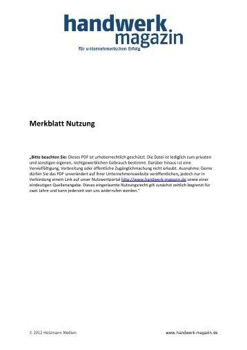 """Artikel im """"handwerk Magazin"""" als PDF - Korte & Partner"""