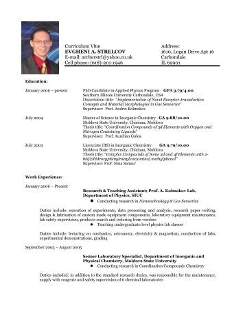 curriculum vitae of andrei kolmakov physics southern