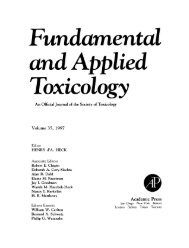 Fundamental and Applied Toxicology - Toxicological Sciences