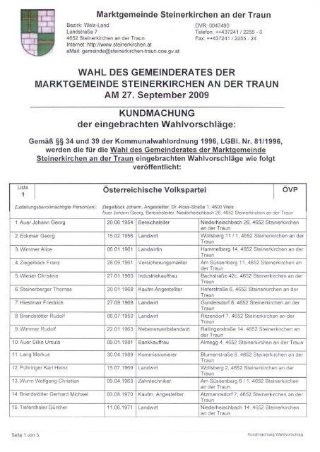 Bezirk: Wels-Land - Marktgemeinde Steinerkirchen an der Traun
