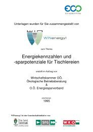Energiekennzahlen und Sparpotenziale für Tischlereien - WIN