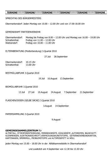 Termine 3. Quartal 2009 - Schrattenthal