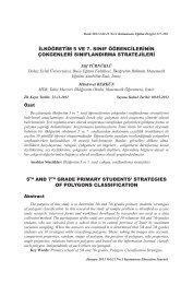 İlköğretim 5 ve 7. Sinif Öğrencilerinin Çokgenleri Siniflandirma