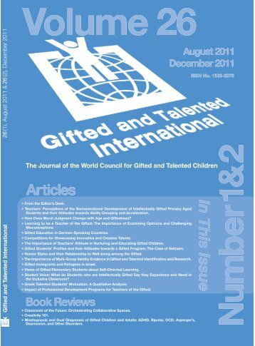 The Journal of the World Council for Gifted and Talented Children