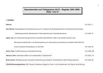 Register GuT Hefte 1-51 2001-2009 Beitr