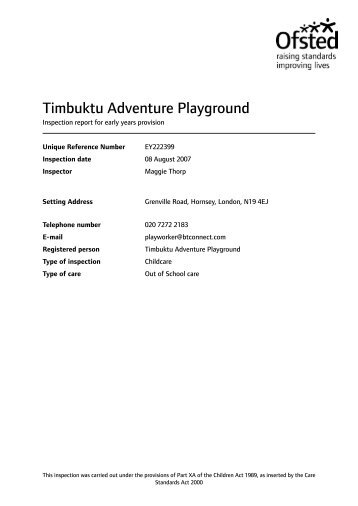 Timbuktu Adventure Playground - Ofsted