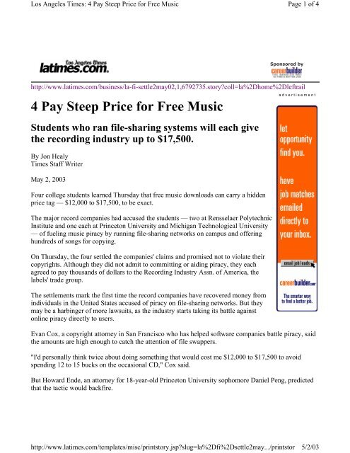 Los Angeles Times 4 Pay Steep Price For Free Music