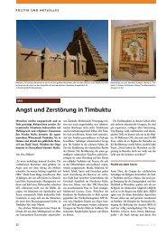 Angst und Zerstörung in Timbuktu - Vera Dähnert