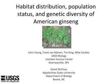 Habitat distribution, population status, and genetic diversity of ...