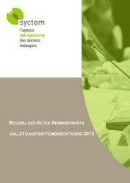 RECUEIL DES ACTES ADMINISTRATIFS JUILLET/AOUT ... - Syctom