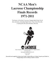 NCAA Men's Lacrosse Championship Finals Records 1971-2011
