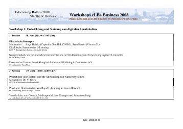 Workshops eLBa Business 2008 - e-Learning Baltics
