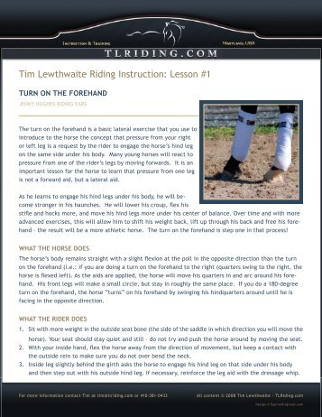 Turn on the Forehand - Tim Lewthwaite Riding Instruction & Training