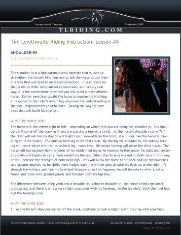 Lesson #4 - Tim Lewthwaite Riding Instruction & Training