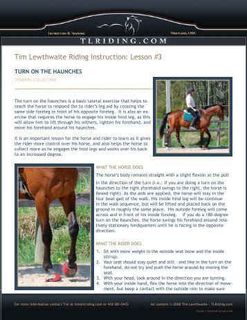 Lesson #3 - Tim Lewthwaite Riding Instruction & Training