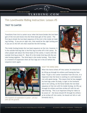 Lesson #5 - Tim Lewthwaite Riding Instruction & Training