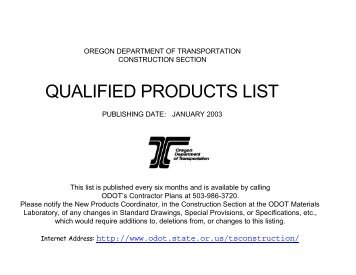 QUALIFIED PRODUCTS LIST - State of Oregon