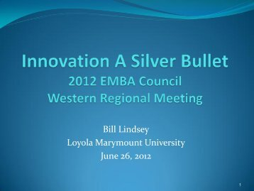 Managing and Implementing Innovation in EMBA Programs