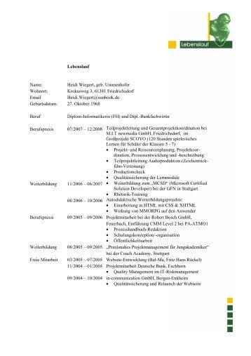 Lebenslauf mit Deckblatt, pdf-Datei - zayka.ch home