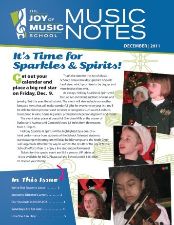 It's Time for Sparkles & Spirits! - The Joy of Music School