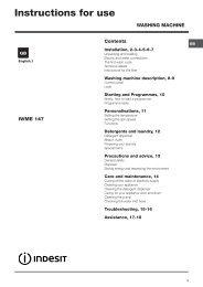 Instructions for use - ImageBank - Indesit Company