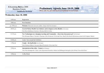 Preliminary Agenda June 18-19, 2008 - e-Learning Baltics