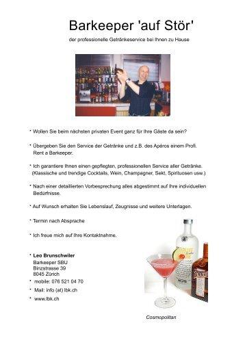 Ziemlich Lebenslauf Für Kellnerin Barkeeper Bilder - Entry Level ...