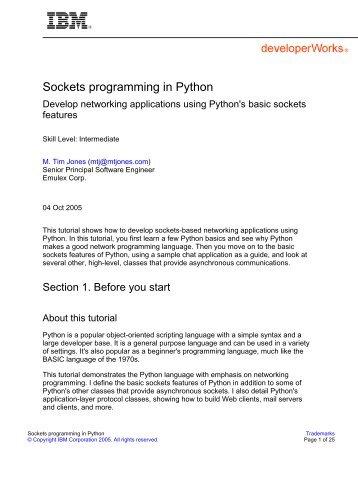 Sockets programming in Python - IBM