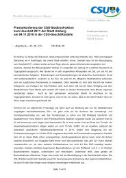 Pressekonferenz der CSU-Stadtrasfraktion zum Haushalt 2011 der ...