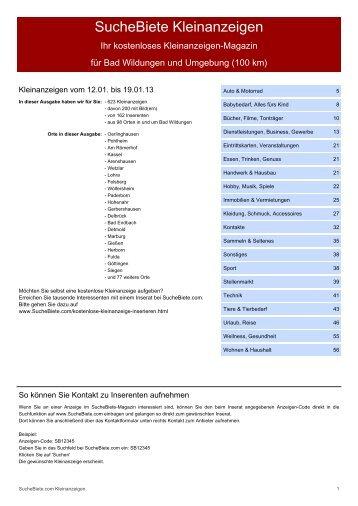 SucheBiete Kleinanzeigenzeitung Bad Wildungen - Kostenlose ...
