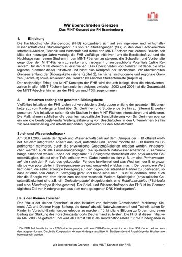 MINT-Konzept - Fachhochschule Brandenburg