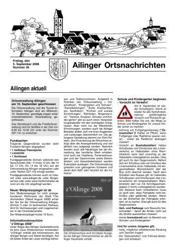 Ausgabe Nr. 36, 05.09.2008 - Ailingen