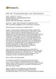 POL-SO: Pressemeldungen vom Wochenende - Firmendb