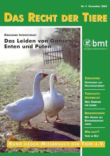 RDT 4/2003 - Bund gegen Missbrauch der Tiere ev