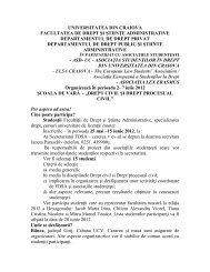 şcoala de vară - Facultatea de Drept - Universitatea din Craiova