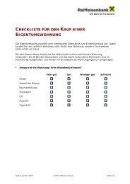 Checkliste für den Kauf einer Eigentumswohnung - Raiffeisen
