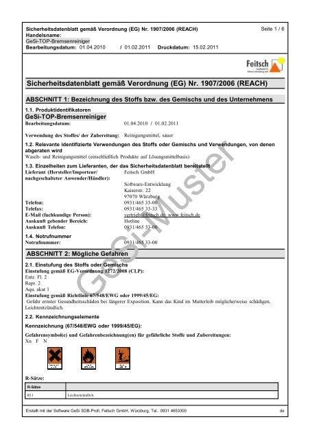 Muster Sicherheitsdatenblatt Deutsch Auszug Pdf Gesi
