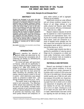 research regarding reduction of soil tillage for wheat and maize crops