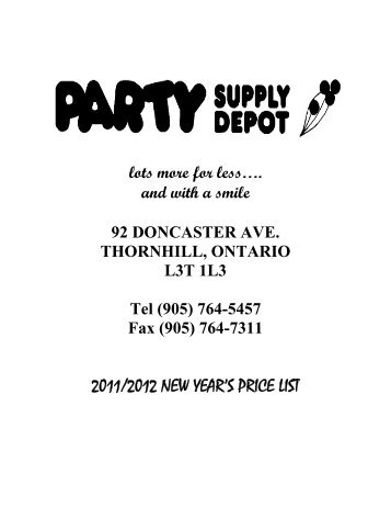 2011/2012 NEW YEAR'S PRICE LIST - PARTY SUPPLY DEPOT