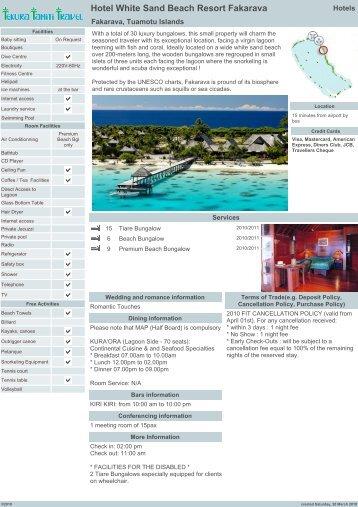 Hotel White Sand Beach Resort Fakarava - tekura