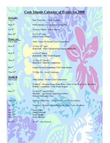 Cook Islands Calendar of Events for 2008 - Dmck.com