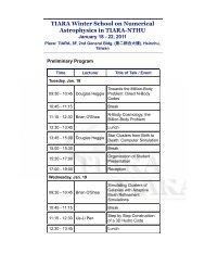 TIARA Winter School on Numerical Astrophysics in TIARA-NTHU