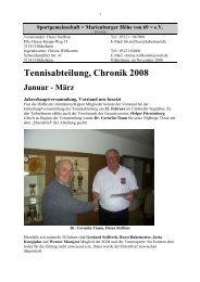 Tennisabteilung, Chronik 2008 Januar - März - SGM-Hildesheim